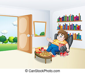 Illustration of a sad fat boy sitting in the sofa in front of the bookshelves