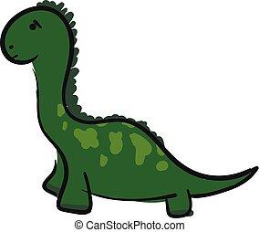 A sad green dinosaur vector or color illustration