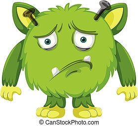 A sad green monster