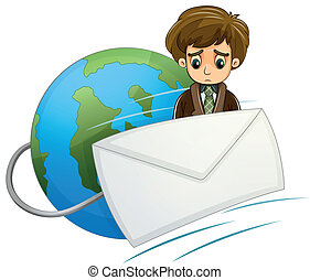 A sad man in the middle of the envelope and the globe
