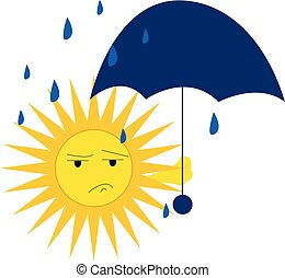 A sad sun holding a blue umbrella with its one hand on a rainy day vector color drawing or illustration