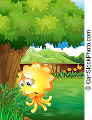 A sad yellow monster under the tree - Illustration of a sad ...