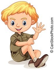 A Safari Boy on White Background