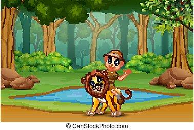 A safari boy with lion in the jungle