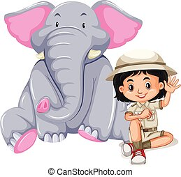 A Safari Girl with Elephant
