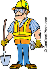 a safe guy - a construction worker wearing proper safety...