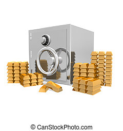 a safe with gold bars