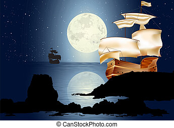 A Sailboat In The Moonlight. Seascape with rocks and full...