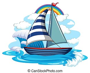 A sailboat on water waves isolated on white background