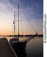 A sailing ship in the city port of Rostock (Germany).
