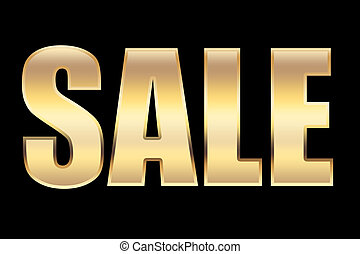 sale - a sale character in gold, for conceptual usage.