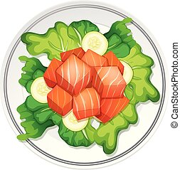 A salmon salad on white background