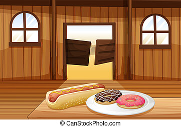 A saloon bar with foods in the table
