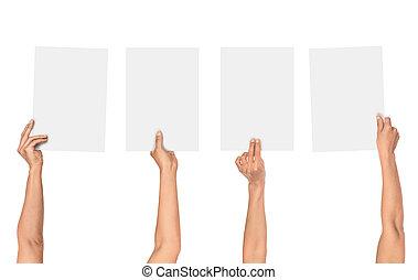 a, sammlung, von, frau reicht, halten papier, freigestellt, weiß, hintergrund