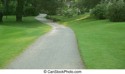 a sand path with trees and bushes