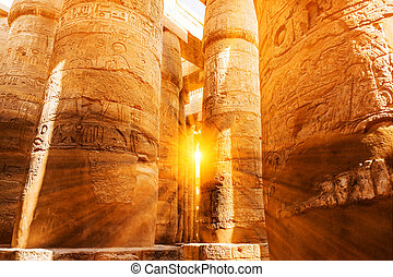 A sandstone column in Egypt. columns covered in...