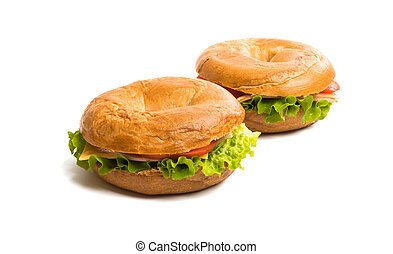 a sandwich with ham isolated