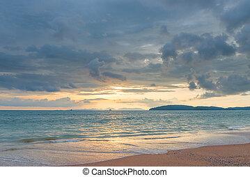a, sanft, sonnenuntergang, in, thailand, in, pastellfarben, -, a, schöne , wasserlandschaft