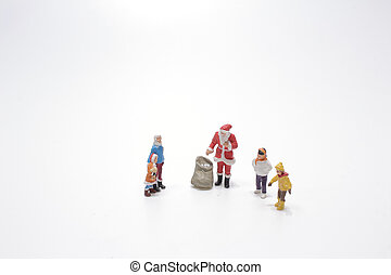 a santa figure with the kids on board
