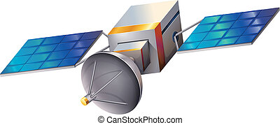 A satellite - Illustration of a satellite on a white...