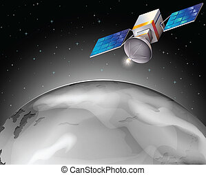 A satellite in the outerspace