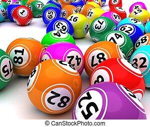 a, satz, von, colouored, bingo, kugeln