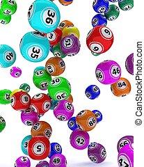 a, satz, von, gefärbt, bingo, kugeln