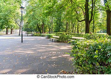 a, saxon, jardim, em, varsóvia, polônia