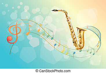 A saxophone and the musical symbols - Illustration of a...