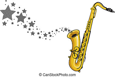 saxophone - a saxophone with stars