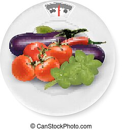A scale with vegetables. Diet concept. Vector.