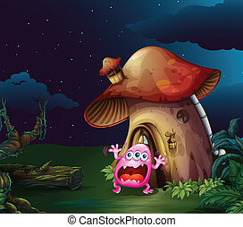 A scared monster near the mushroom house - Illustration of a...