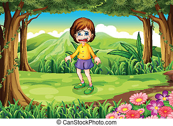 A scared young girl at the forest