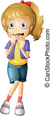 A scared young girl - Illustration of a scared young girl on...