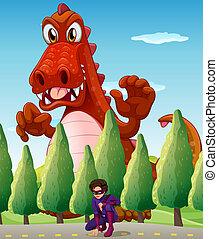 A scary giant crocodile and a superhero