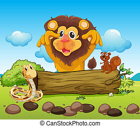 A scary lion, a snake and a small squirrel