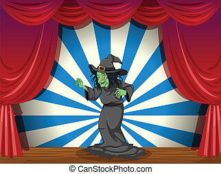 A scary old witch at the stage - Illustration of a scary old...