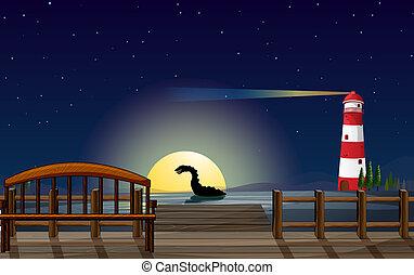 A scary sea creature near the wooden bridge