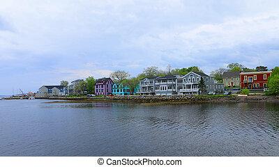 A Scene of colorful buildings of Mahone Bay, Nova Scotia