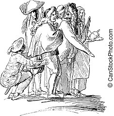 A scene of the masquerade students of Rome in 1730, by Bouchardon, vintage engraving.