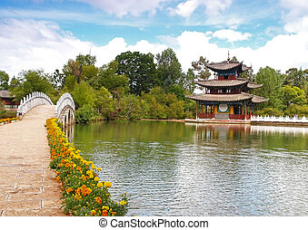 A scenery park in Lijiang China - a top tourist town