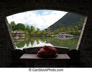 A scenery park in Lijiang China - a famous tourist...