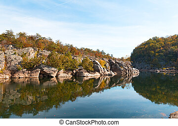 A scenic river bend in Great Falls park, Virginia, USA.