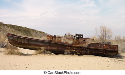 A scenic shipwreck - A scenic shot shipwreck from the Aral...