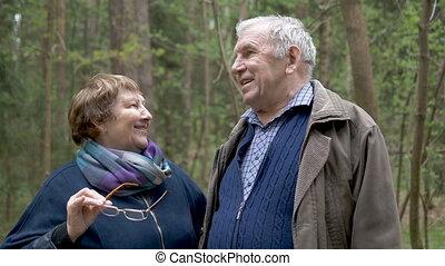 a, schöne , alten paaren, sprechende , park, für, a, walk., sie, kommunizieren, lachen, hug., ausgezeichnet, beziehung, der, alter, von, happiness.
