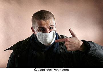 a, schützende maske
