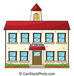 A school building - illustration of a school building on a...