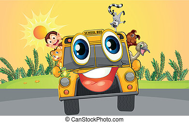 A school bus with animals