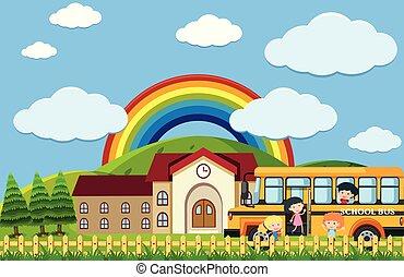 A School Bus with Beautiful Scene