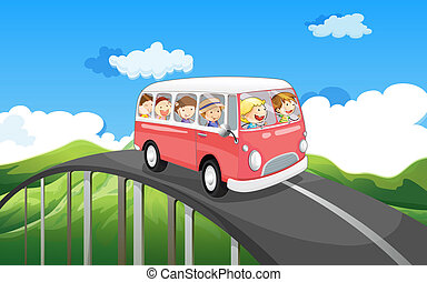 A school bus with kids travelling - Illustration of a school...
